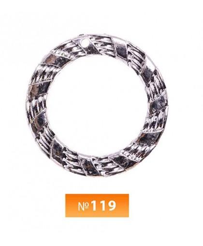 Кольцо пластиковое №119 никель 3.5 см (250 штук)