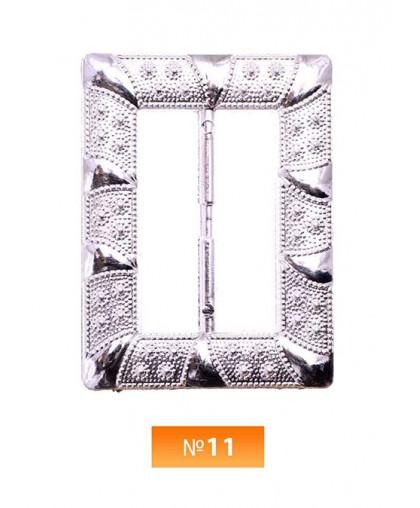 Пряжка пластиовая №11 никель 4 см (100 штук)