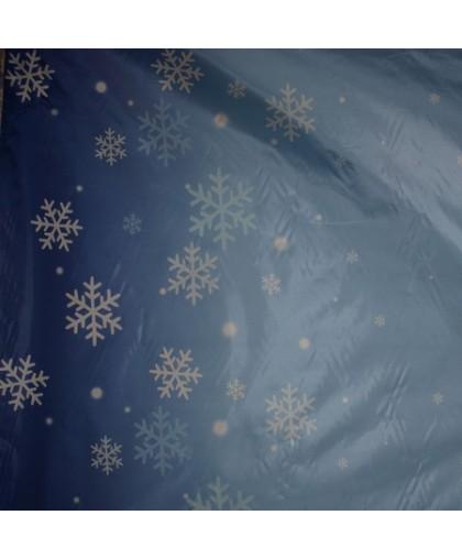 Ткань плащевка снежинка голубой (метр )