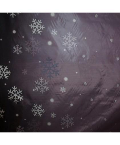 Ткань плащевка снежинка серый (метр )