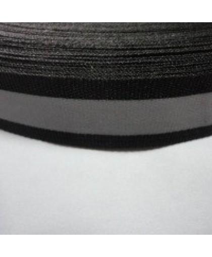 Тесьма светотражающая 2см черная (50 метров)