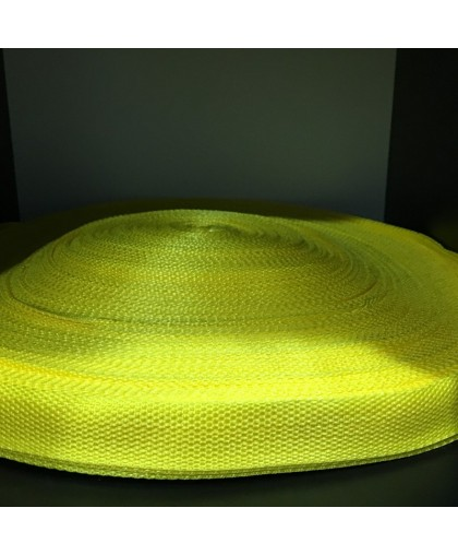 Тесьма ременная 900D 2,5см желтый лимон (100 метров)