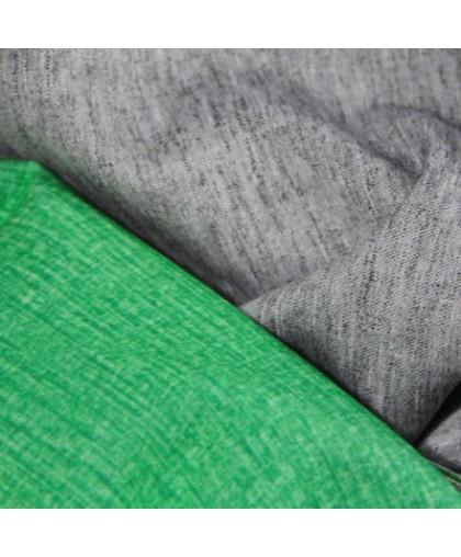 Ткань трикотаж дайвинг меланж двухсторонний зелено-серый (метр )