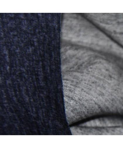 Ткань трикотаж дайвинг меланж двухсторонний сине-серый (метр )